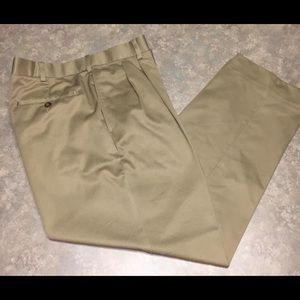 Men's Khaki Pleated Pants by Savane
